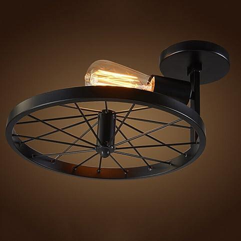 mengke e27 rad retro deckenleuchte vintage deckenlampe antik beleuchtung industry deckenbeleuchtung kreative decorative deckenstrahler eisen lampeschirm - Deckenlampe Wohnzimmer Antik