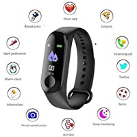 Meya Happy Fitness Bands M3 Smart Band Fitness Tracker Watch Heart Rate Band with Activity Tracker Waterproof Body Functions Like Steps Counter, Calorie Counter, Blood Pressure, Heart Rate Monitor OLED Touchscreen (M3)