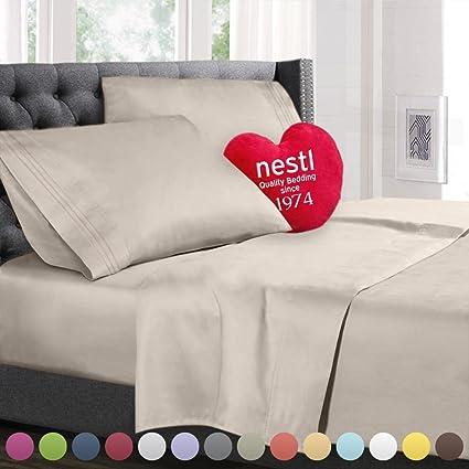 Split King Size Bed Sheets Set Beige, Highest Quality Bedding Sheets Set On  Amazon,