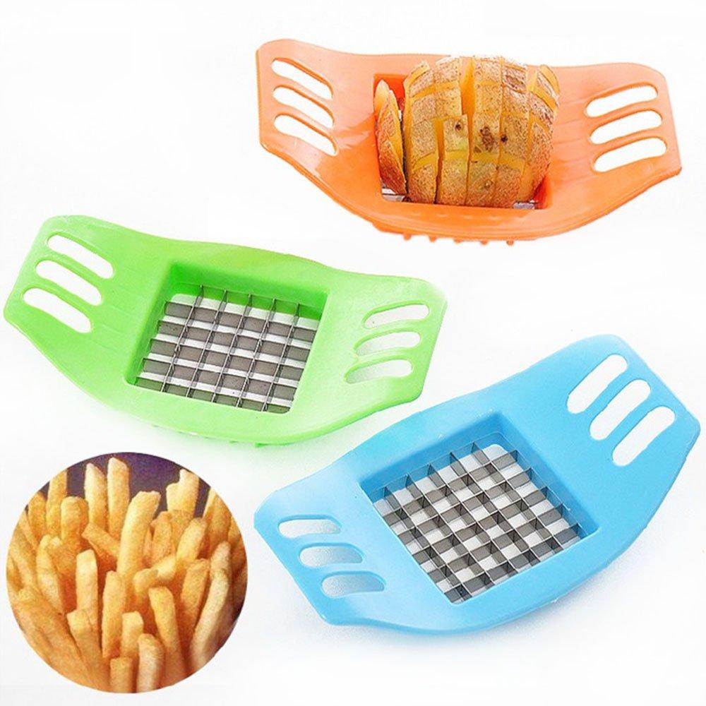 Ecloud Shop Creative Home Kitchen Utensils Potato Chips Cutter Fries Cutter Plastic Potato Slicer Cutter 2pcs (Color Random)