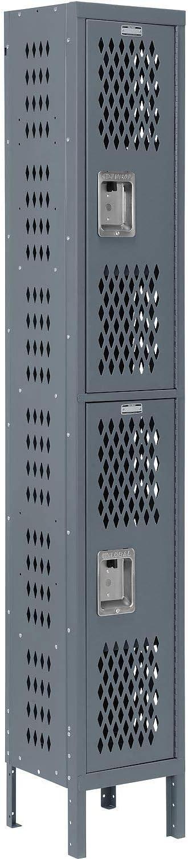 Heavy Duty Ventilated Steel Locker Gray Double Tier Unassembled 12x18x36 1-Wide