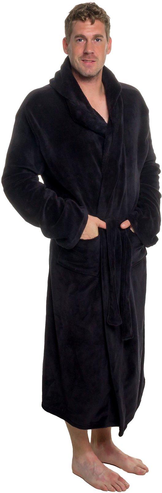 Ross Michaels Mens Hooded Robe - Plush Shawl Kimono Bathrobe (Black, XXL) by Ross Michaels (Image #2)