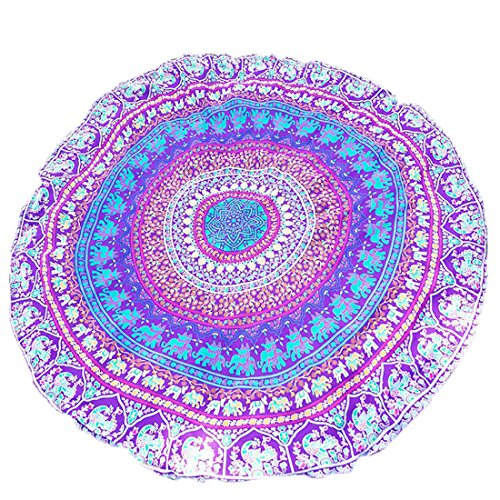 SANNIX Round Indian Wall Mandala Tapestry Art Hanging Printed Elephant Bohemian Bedspread Purple 59
