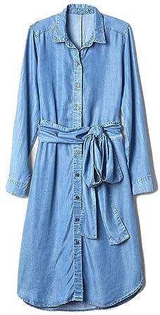 5c523d0575a GAP Womens Blue Denim Tie-Waist Midi Shirt Dress XS at Amazon ...