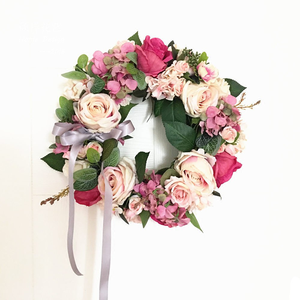 Handmade Floral Artificial Flowers Garland Rose Wreath for Home Party Decor (Valentine's Wreath-Green) Li Hua Cat