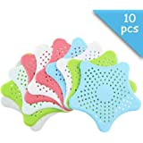 Set of 10 Starfish Silicone Sink Filter, Drain Protector, Bathtub Drain Cover, Shower Hair Stopper, for Kitchen & Bathroom