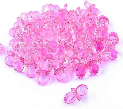 Gudotra 100pcs Mini Chupetes Favores Decorativos para Pequeña Caja Chupetes Plástico Nacimiento Cumpleaños Bebé Recién Nacido Chupetes Rosa (Estilo1--Rosa): Amazon.es: Juguetes y juegos