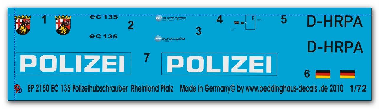 Ep 2150 Ec 135 Polizeihubschrauber Rheinland Pfalz D Hrpa Amazonde
