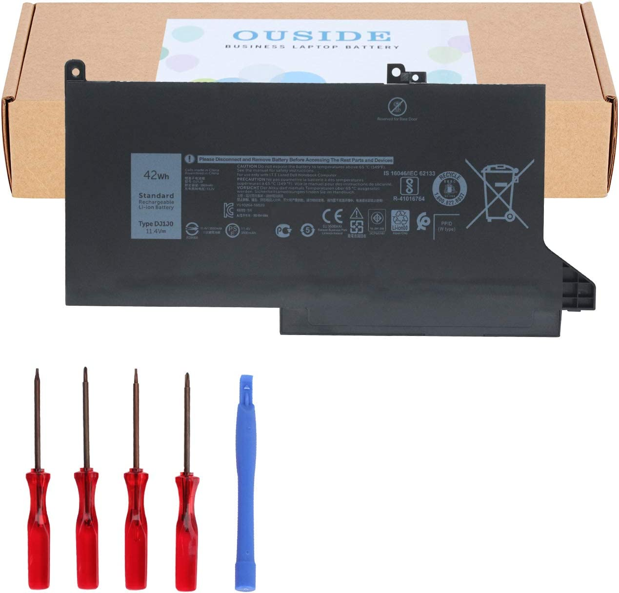 Ouside DJ1J0 Battery [42Wh 3Cell] Compatibel with Dell Latitude 12 7000 7280 7480 Series, Laptop 451-BBZL PGFX4 ONFOH DJ1JO