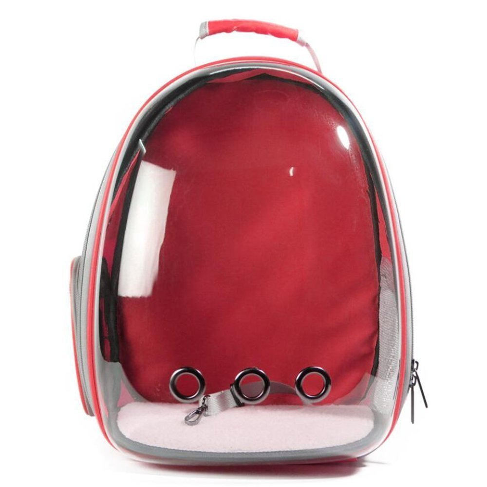 Red Backpack Dog Cat Pet Carrier Airline Travel Hiking Bubble Backpack