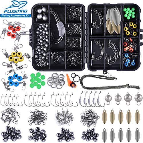 PLUSINNO Fishing Accessories Kit, 263/156 Pcs Fishing Tackle Kit with Tackle Box Including Fishing Weights Sinkers, Jig…