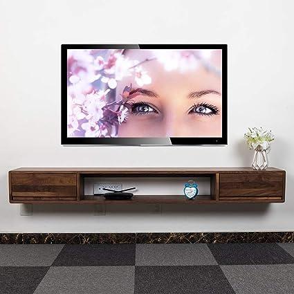 Estantería de pared de madera maciza Mueble TV de pared Con ...