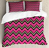 Chevron Duvet Cover Set Queen Size by Lunarable, Old Fashion Abstract Wavy Design Retro Stripes and Lines with Vibrant Color Palette, Decorative 3 Piece Bedding Set with 2 Pillow Shams, Multicolor