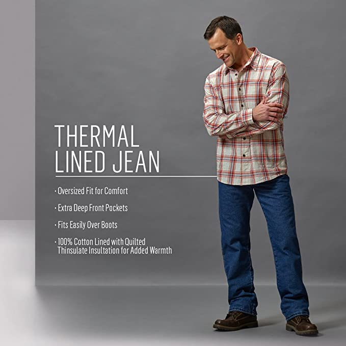 5ce56e09 Wrangler Rugged Wear Men's Woodland Thermal Jean at Amazon Men's Clothing  store: Flannel Lined Jeans
