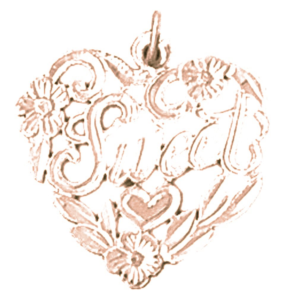 Jewels Obsession Saying Necklace 14K Rose Gold-plated 925 Silver Sweet in Heart Saying Pendant with 18 Necklace