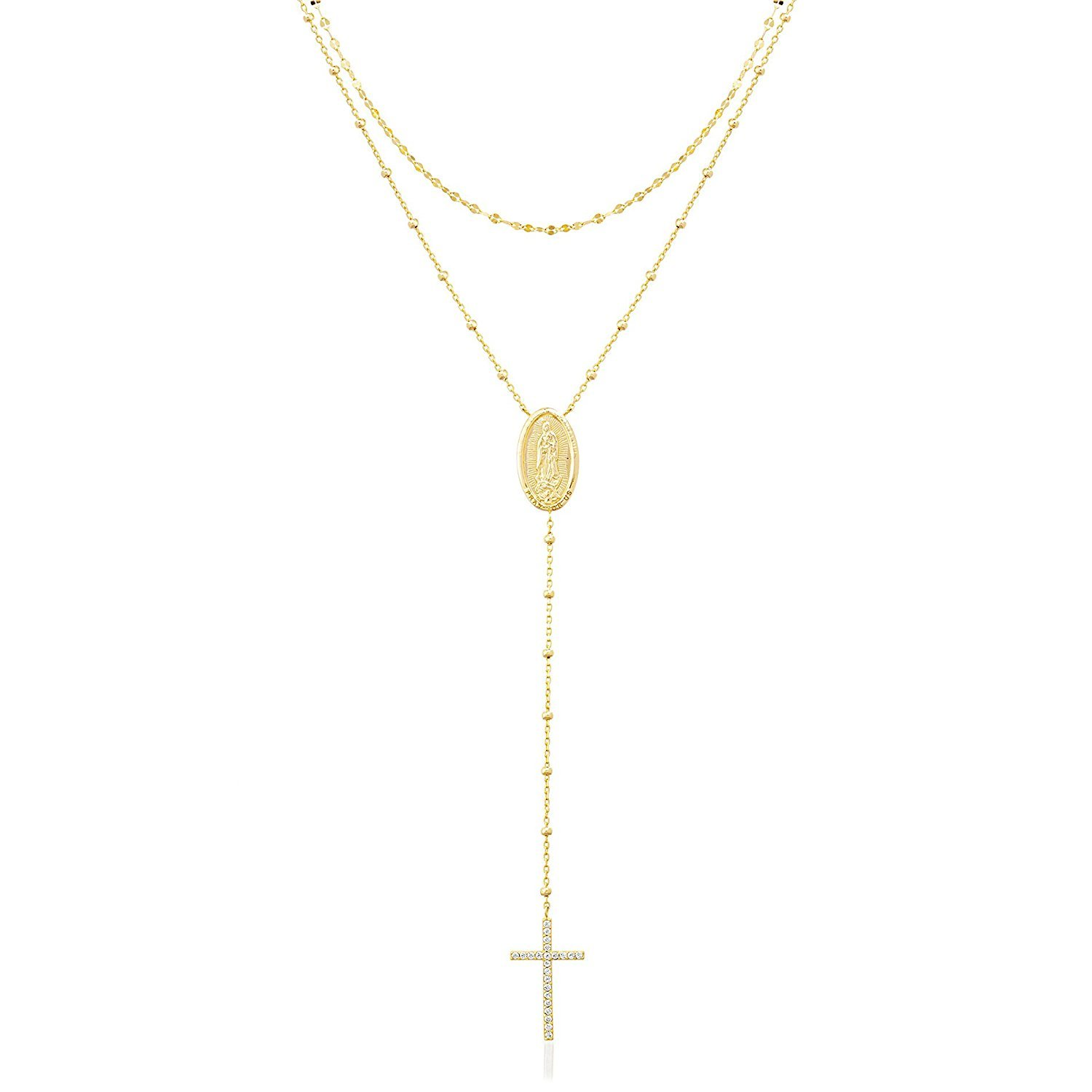 LESA MICHELE Yellow Gold Plated Sterling Silver Cubic Zirconia Oval Rosary and Cross Necklace for Women by Lesa Michele