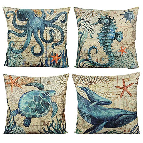 VAKADO Mediterranean Nautical Outdoor Throw Pillow Covers Beach Coastal Sea Turtle Octopus Whale Seahorse Cushion Cases Decorative Ocean Decor for Couch Patio Furniture 18x18 Set of 4
