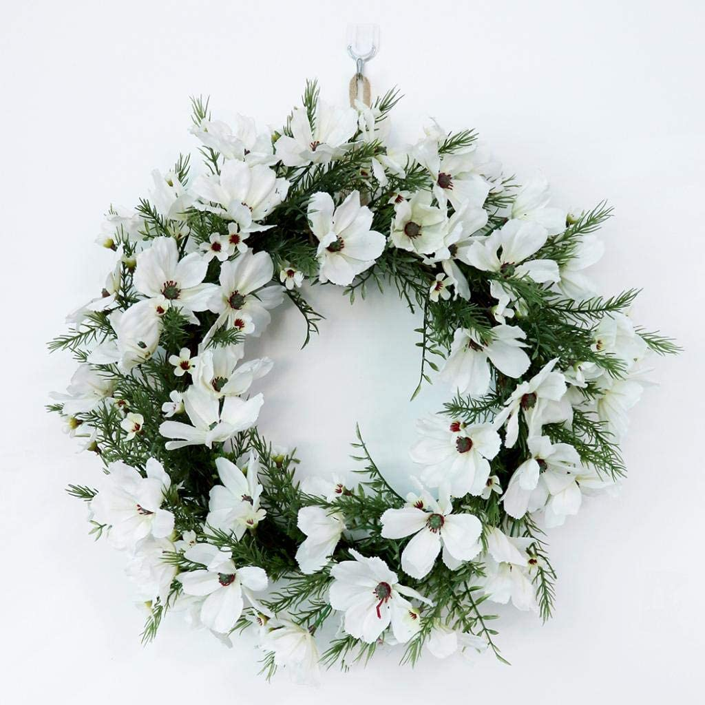 homozy Fake Xmas Wreath Garlands and Swags Fall Decorations White Green