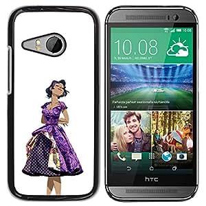 GOODTHINGS ( NO PARA HTC ONE M8 ) Funda Imagen Diseño Carcasa Tapa Trasera Negro Cover Skin Case para HTC ONE MINI 2 / M8 MINI - 50 años vestido de la mujer púrpura de moda el pelo negro