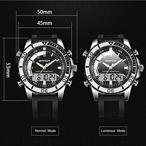 5296 LED Night Light Display & Stopwatch & Alarm & Date And Week Function Men Quartz + Digital Dual Movement Watch With Silicone Band (SKU : Wa0109gb) by Dig dog bone (Image #5)