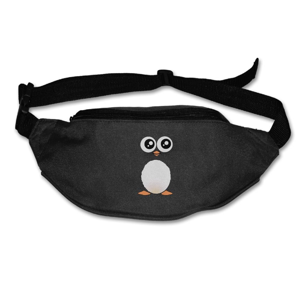 Janeither Unisex Waist Purse Cute Black Penguin Fanny Pocket Adjustable Running Sport Waist Bags Black