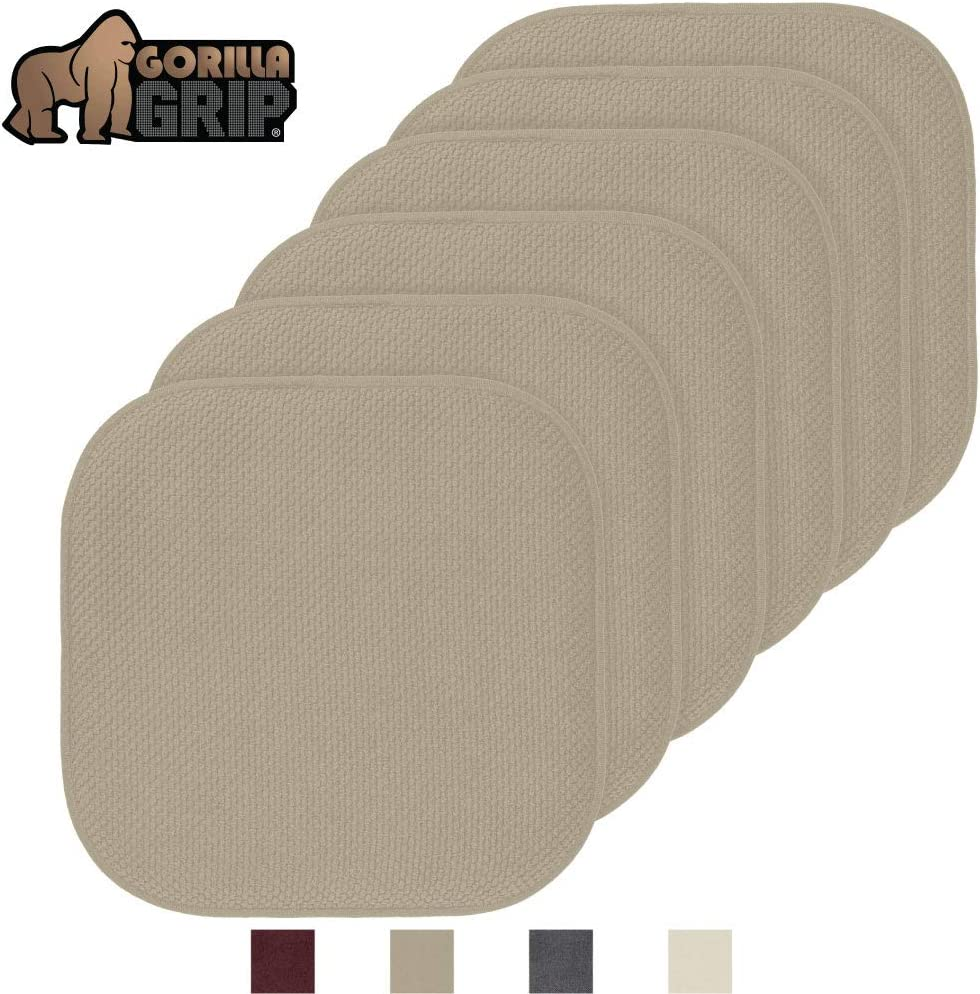 Large Size 4 Pack Gorilla Grip Original Premium Memory Foam Chair Cushions Kitchen Chairs 16x16 Inch Durable Soft Mat Pads for Office Thick Comfortable Seat Cushion Pad Beige Slip Resistant