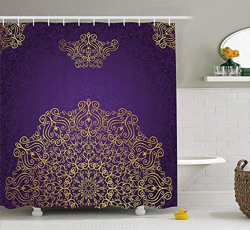 (Mandala Shower Curtain Vintage Ornament with Eastern Ottoman Artistic Motifs Revival Swirling Design Fabric Bathroom Decor Set with Hooks Purple Yellow 70