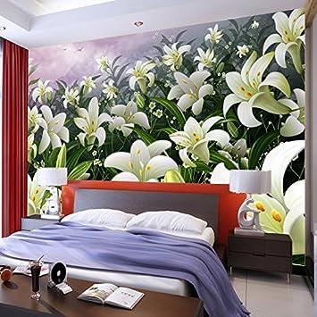 Mbwlkj Kundengebundene Große Lilie 3D Stereo Fototapete Schlafzimmer ...