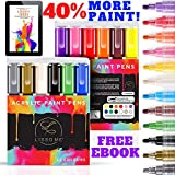 LISSOME Acrylic Paint Pens - 40% EXTRA PAINT 12 Set Acrylic Markers for Glass, Ceramic, Fabric. Permanent Waterproof Acrylic Pens with 3-5mm Reversible Round & Chisel With Tweezers