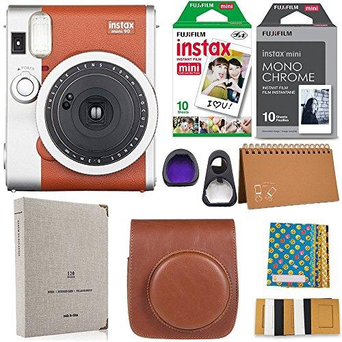 Fujifilm Instax Mini 90 Instant Camera + Fuji Instax Film (20 Sheets) + Accessories Bundle by Fujifilm