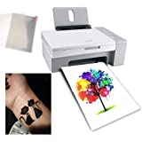 10 Sheets A4 Temporary Tattoo Transfer Paper Printable Waterproof Transfer Paper DIY Customized for Laser Printers and…