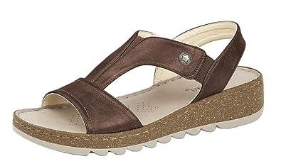 Womens Ladies Elasticated Instep Comfort Wedge Sandals BLACK PEWTER BRONZE 3-8
