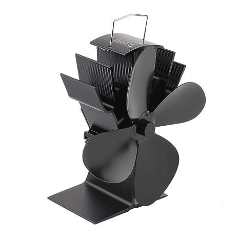 MachinYeser Durable 4 aspas Ventilador de Estufa Alimentado por Calor de Aluminio Negro Ventilador de Estufa