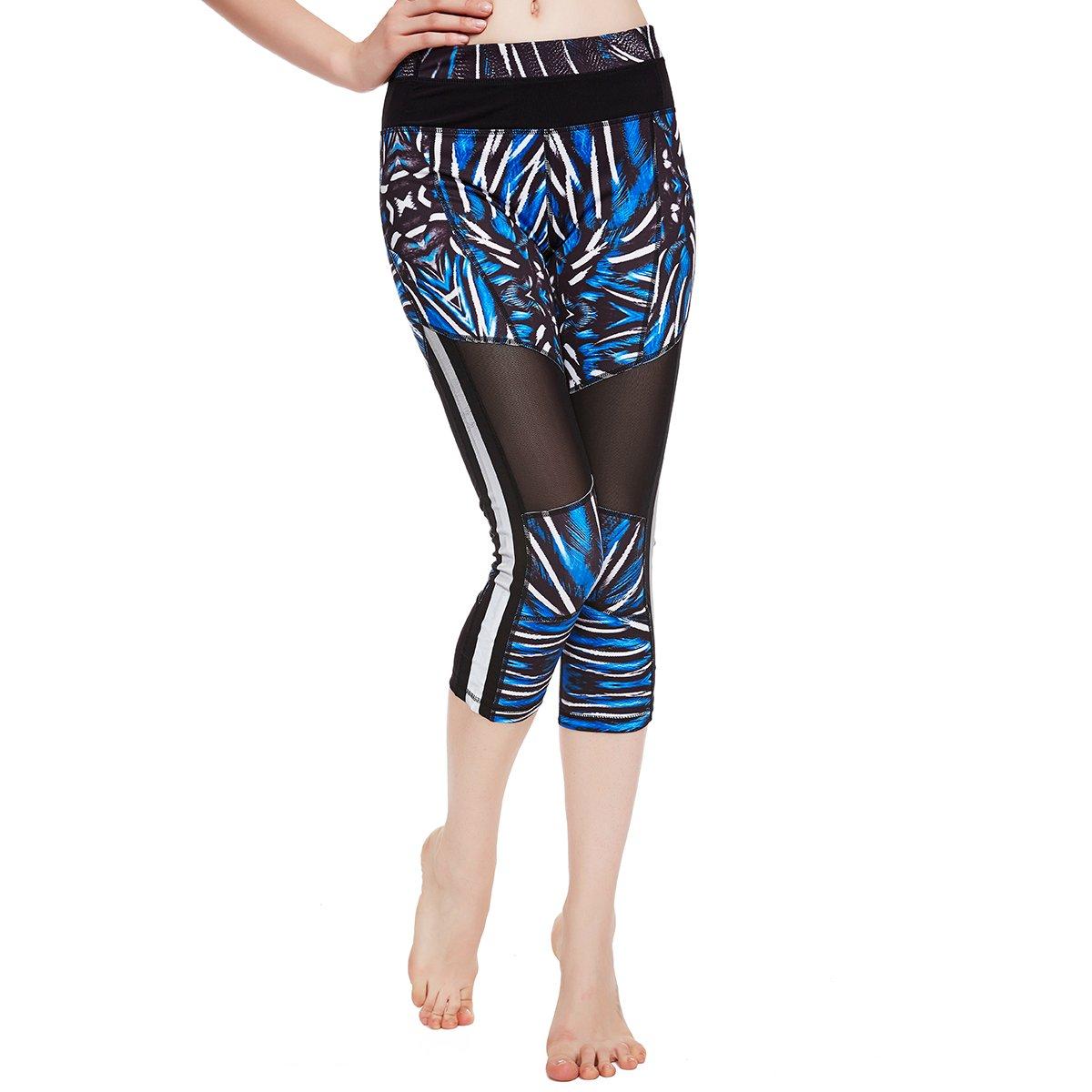 icyZone Women\'s Activewear Workout Pants Capris Printed Yoga Running pants
