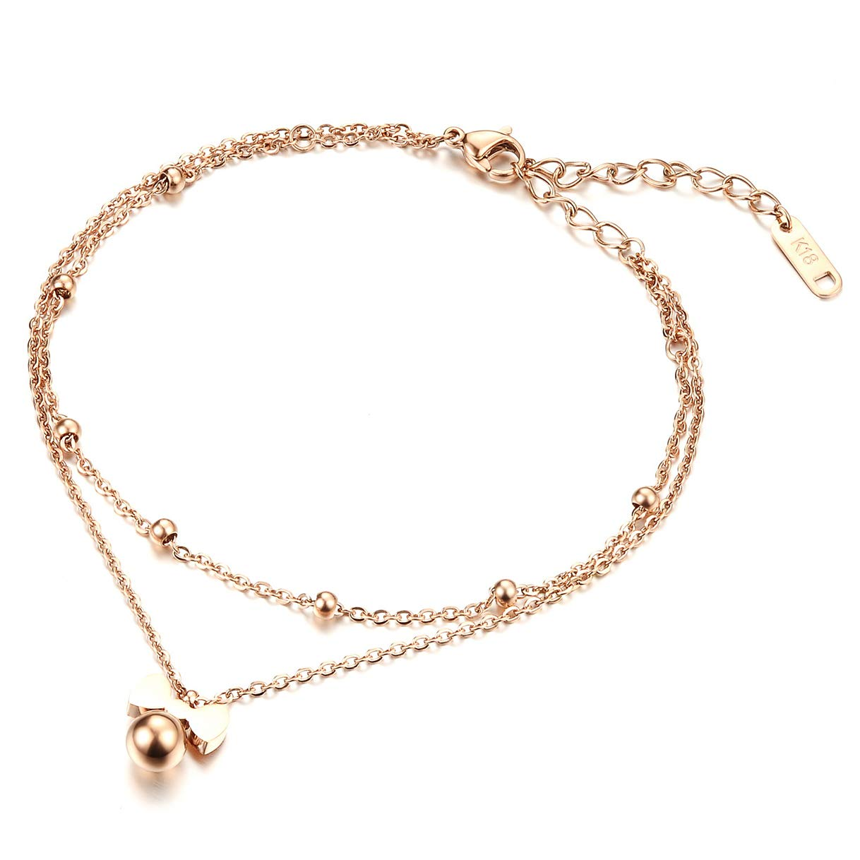 CHARMFAME Rose Gold Plated Stainless Steel Anklet Bow Ankle Bracelet 2 Layers Fashion Foot Jewelry for Women /& Girls