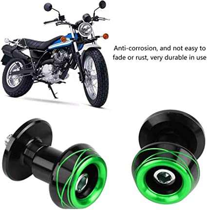 Verde Suuonee Bobina de brazo oscilante 10MM aleaci/ón de aluminio mecanizada CNC universal Rueda de brazo oscilante Carretes deslizantes Tornillos para motocicleta 8MM