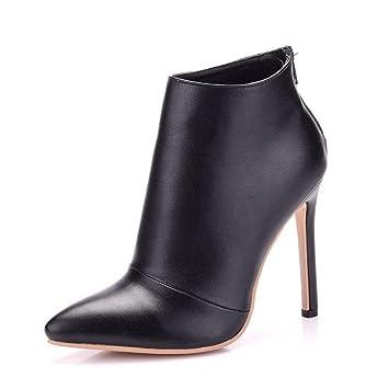 GAIHU Señoras mujer sola Botines negro Zapatos de novia boda vestidos noche Tacón puntiagudo primavera otoño