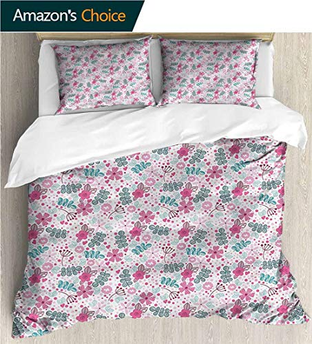 carmaxs-home Kids Quilt 3 Piece Bedding Set,Box Stitched,Soft,Breathable,Hypoallergenic,Fade Resistant with Sham and Decorative 2 Pillows,Full Queen-Kids Doodle Style Floral Pattern (104
