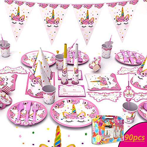 Unicorn Theme Kids Birthday Party Supplies Decorations Tableware for Kids Birthday Party with Paper Dinner Cake Plates, Cups, Cutlery, Napkins, Tablecloth, Straws, Flag, Hats, Horns, Pennants, Eye Mas
