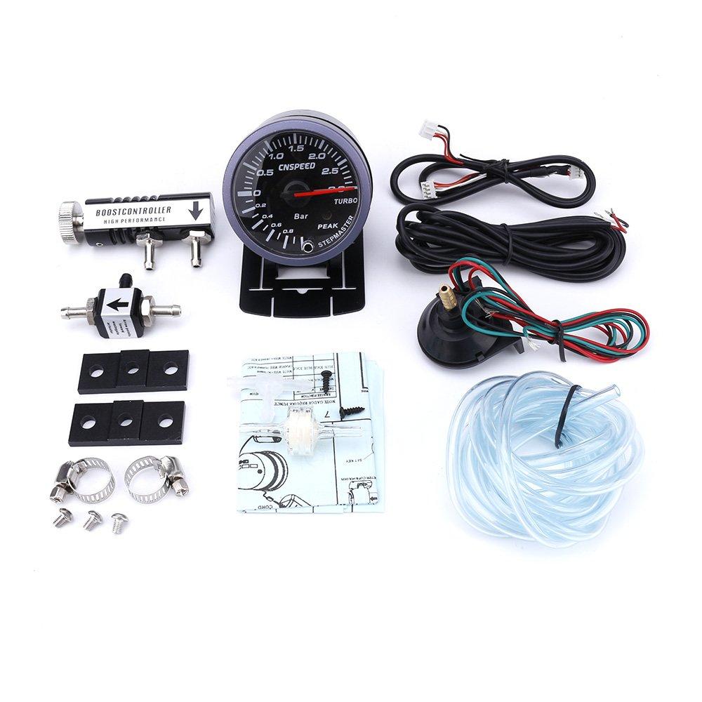 CNSPEED - Medidor de turbo de 60 mm para coche, 3 bar + controlador de turbo ajustable (1 - 30 PSI, medidor de entrada de coche (con controlador negro): ...