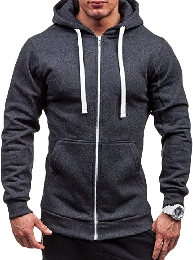 YUNY Men Solid Fleece Zip Long Sleeve Slim-Fit Hood Jacket Sweatshirts Dark Grey M