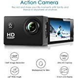 Action Camera ,Amuoc Waterproof 30m Sport Camera Full HD 1080P 2.0 Inch LCD Display 120 Degree Wide Angle Lens Sport Recorder Car Camera with Outdoor Accessories (Black) (Black)