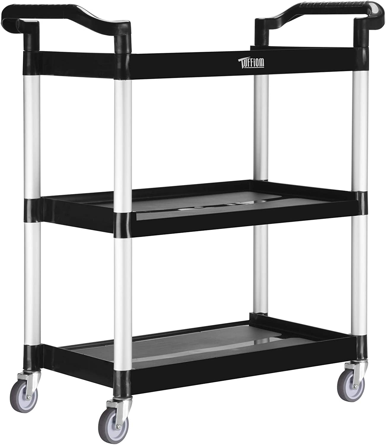 TUFFIOM 3-Tier Plastic Utility Cart, Heavy Duty 330lbs Capacity, Commercial Rolling Service Cart, Ideal for Restaurant, Foodservice, Office, Warehouse, Black (30.31''L x 12.09''W x 31.89''H)