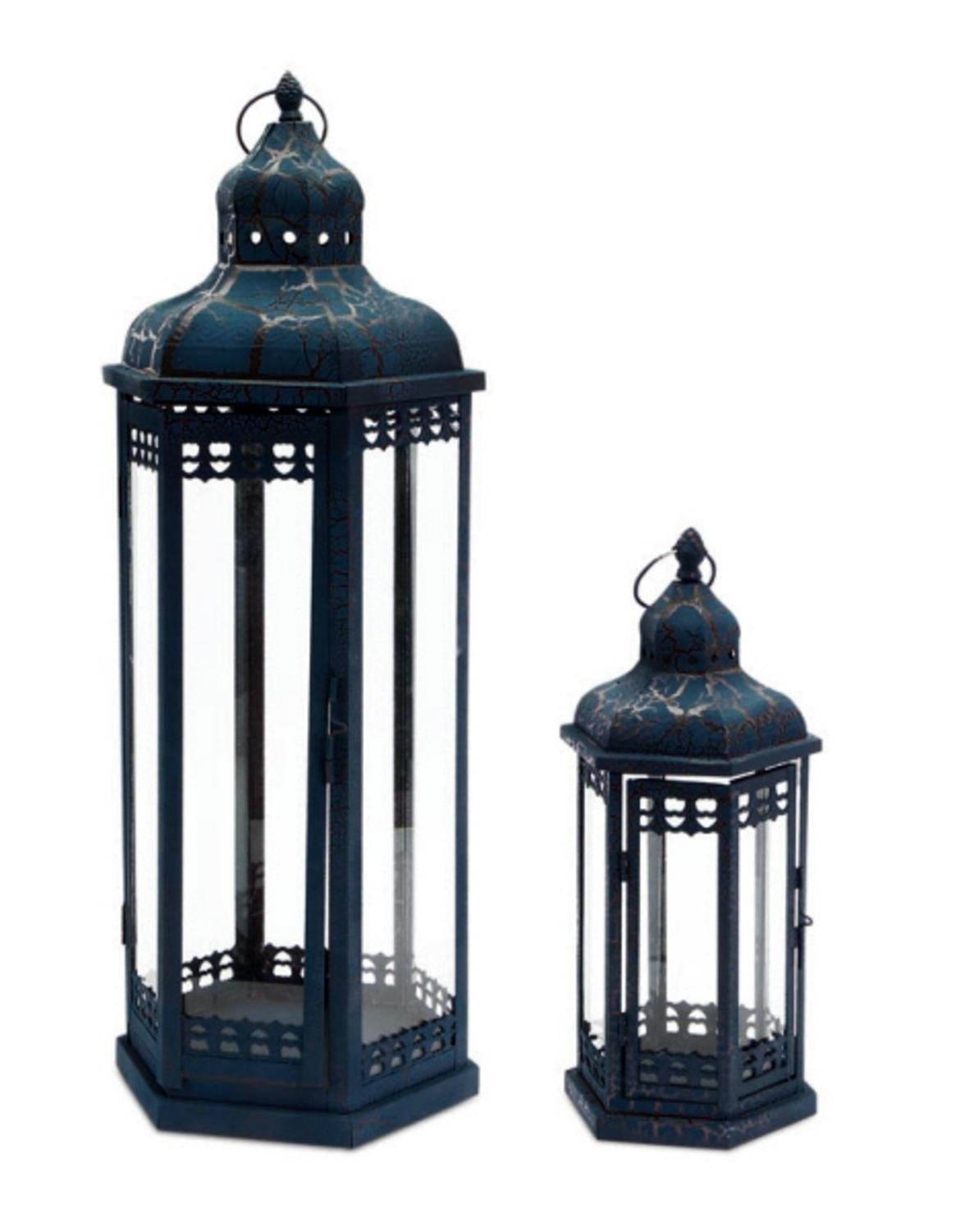 Set of 2 Distressed and Crackled Midnight Blue Mirage Pillar Candle Lanterns 24''