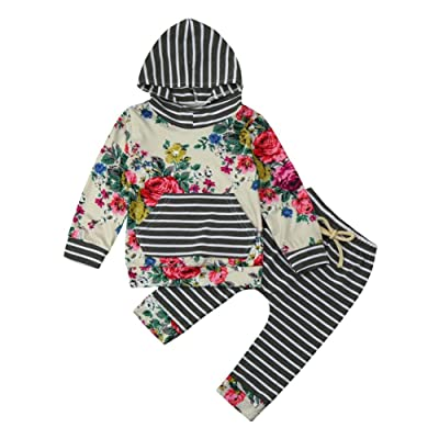 f95ddcf72 Digood Toddler Newborn Baby Girls 2pcs Clothes Set Floral Hoodie Tops+Pants  Outfits