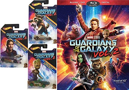 Marvel Groot   Rocket Racoon   Star Lord Guardians Of The Galaxy Vol  2 Hot Wheels Bundle  Blu Ray   Dvd   Digital  Cinematic Universe Super Hero Movie   Car Bundle