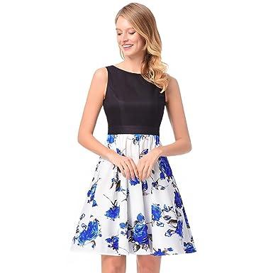 LHWY Kleider Damen Elegant, Rose Printing Abendkleid Partykleid Mini ...
