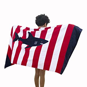 Wowelife Shark Kids Bath Towel Red and White Stripe Towel for Bath, Pool and Beach 100% Cotton 30 x 63 inch Extended Length for Both Children and Adults(Whale Stripe)