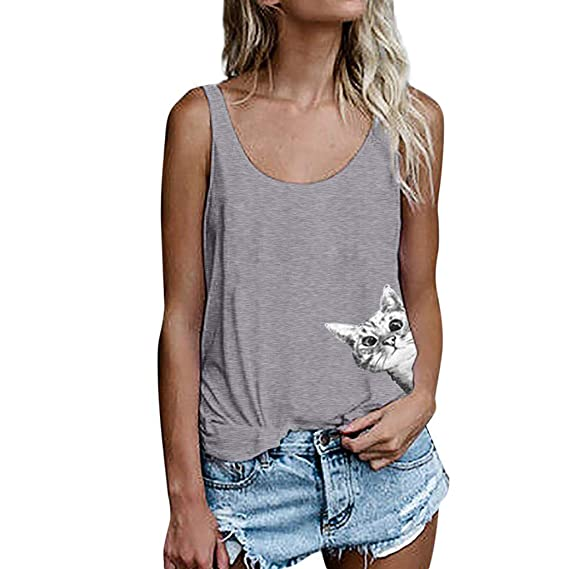 f3672601b8c9 Lenfesh Camiseta de Tirantes para Mujer, Mujeres Gato Imprimir Chaleco sin  Mangas Sueltos Crop Tops Verano Mujer Tank Blusa Camiseta