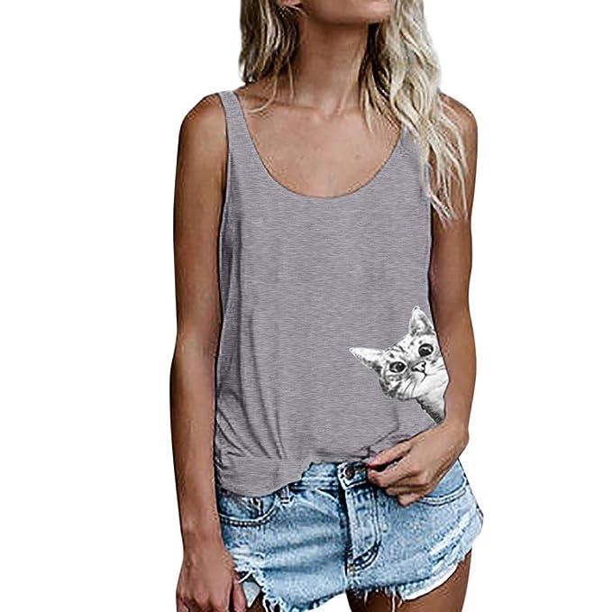 Lenfesh Camiseta de Tirantes para Mujer, Mujeres Gato Imprimir Chaleco sin Mangas Sueltos Crop Tops Verano Mujer Tank Blusa Camiseta